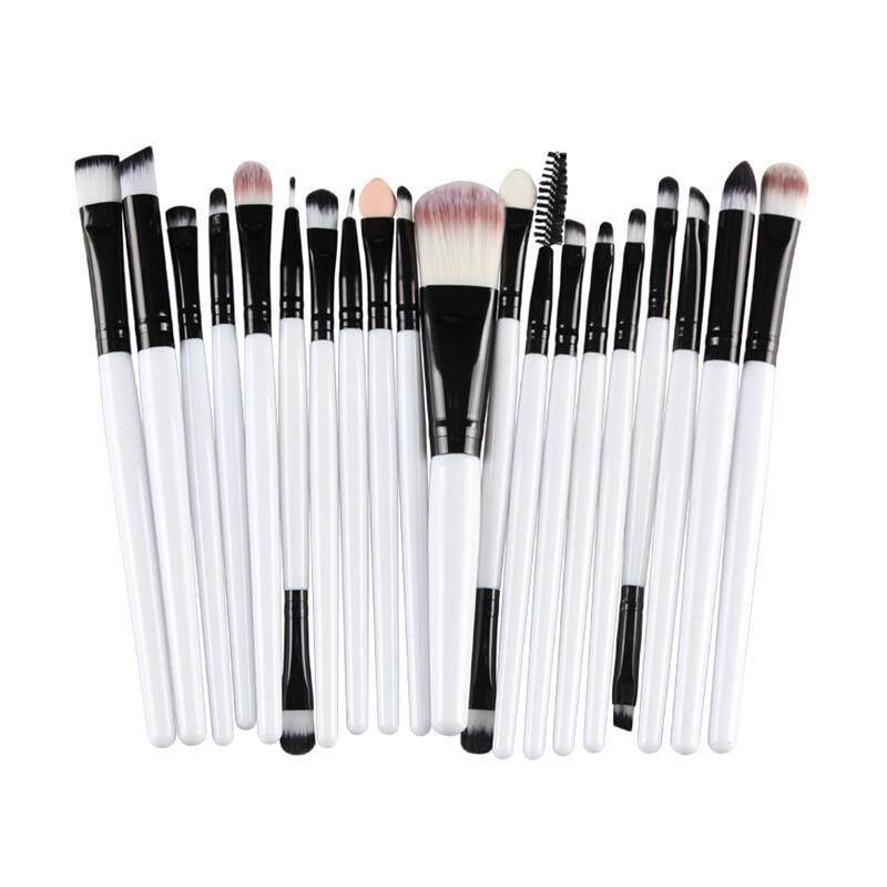 Hetu 20 Pcs Make Up Kuas Kosmetik Profesional Pegangan Plastik Alis Dasar Eyeshadow Mascara Makeup Bibir