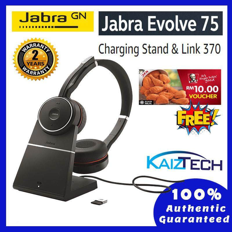 Jabra EVOLVE 75 Stereo MS Include Charging Stand & Link 370 Office Headset