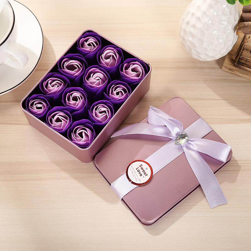 12 pcs Square Metal Box Rose Flower Soap Gift Rose Soap Box Valentine Day Gift New Year Birthday Mother day Gift Present for Girl Friend