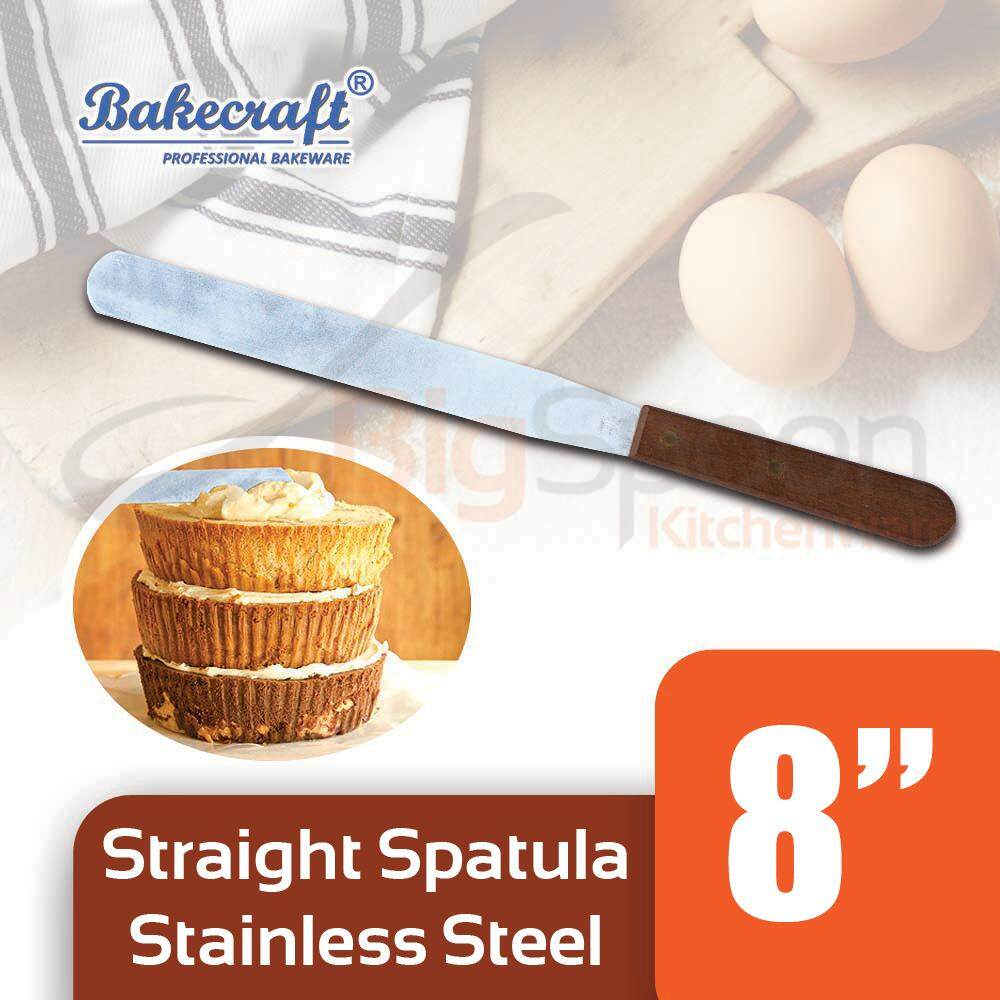 BAKECRAFT 8 inch Stainless Steel Spatula Kitchen Tool Wooden Handle Cake Spatula Cake Decorating Tool