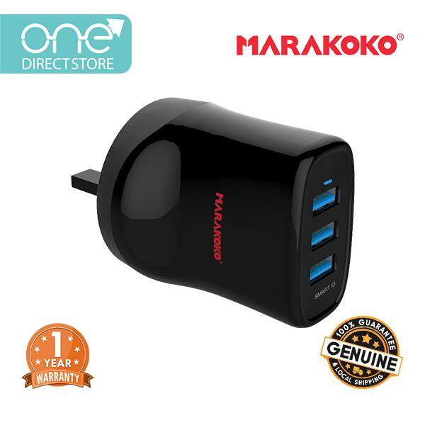 Marakoko 17W 3 Port Smart Wall Charger (3.4A) c/w Type-C Cable - MA13