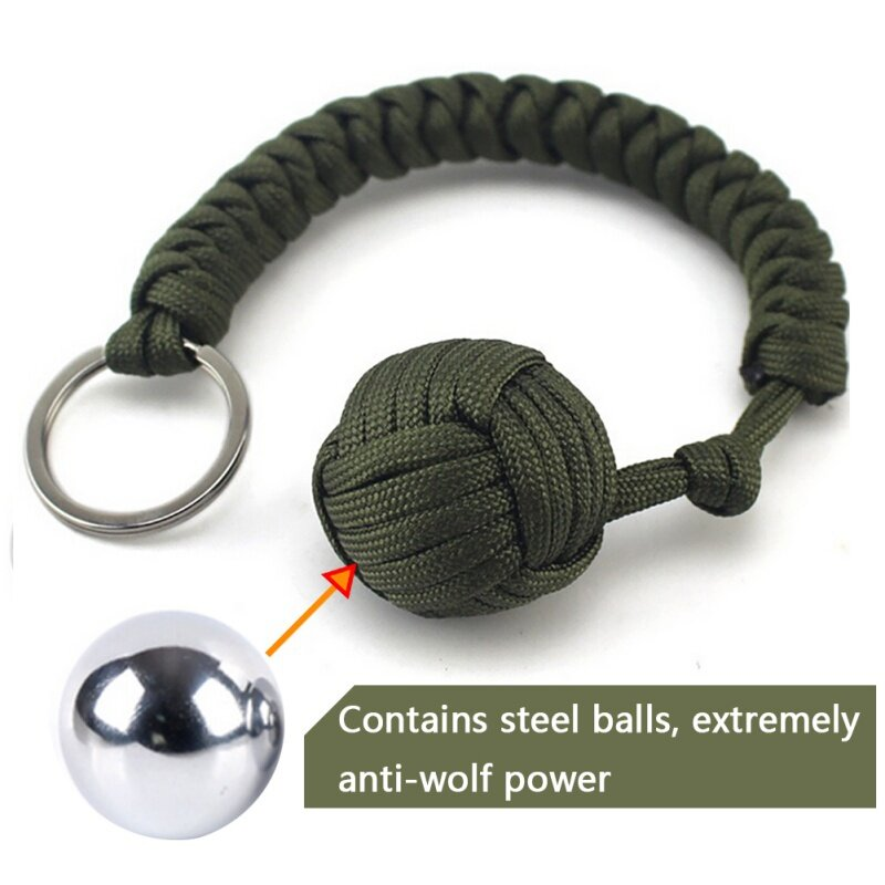 Outdoor Sport Monkey Fist Paracord Steel Ball Lanyard Emergency Survival Tool