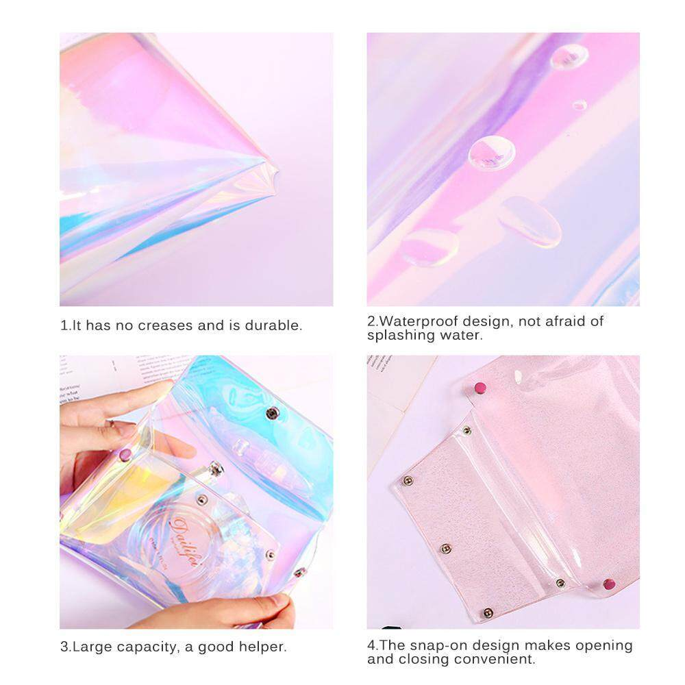 069f1d4d3d9f Oaken Womens Girls Clear Transparent Rainbow Laser Hologram Cosmetic Makeup  Travel Wash Bag(18*14*17)