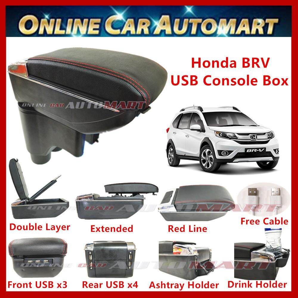 Honda BRV 7 USB Charger Port PVC Adjustable Arm Rest/Armrest Center Console Box (Red Line)