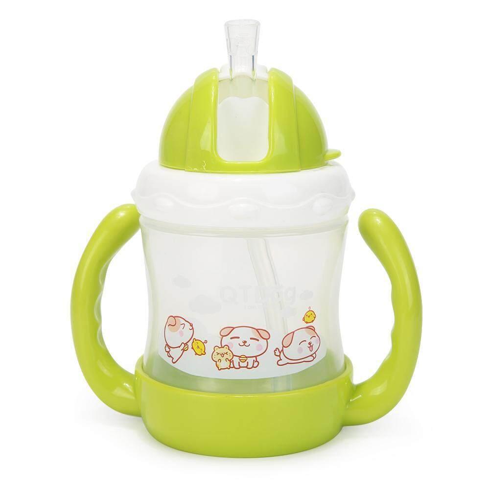 การ์ตูนถ้วยเด็กเรียนรู้ที่จะเครื่องดื่มขวดหัดดูดน้ำสำหรับเด็กเล็กเด็กนมขวดพร้อมหลอด