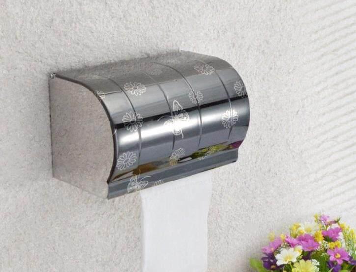 ELEGANT STYLEZ Stainless Steel Wall Mount Toilet Tissue Bathroom Paper Roll Holder Box K205
