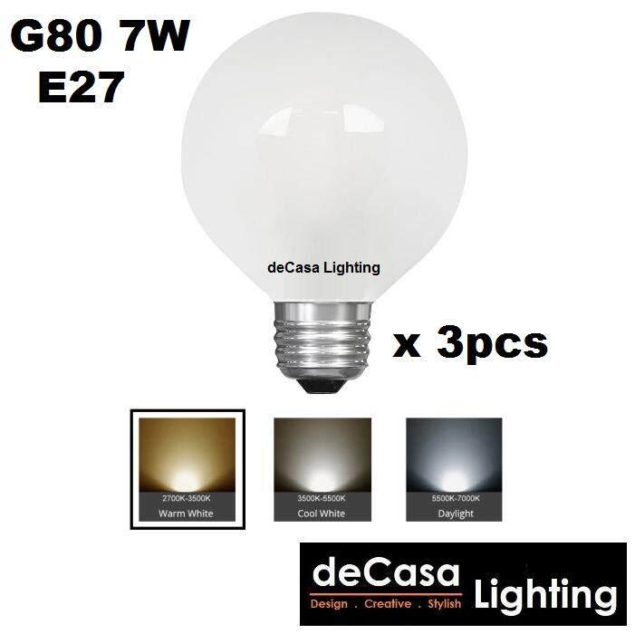 3Pc E27 G80 7W LED Frosted Globe Bulb for Pendant Light Ceiling Lamp Decasa Lighting Outdoor Light Globe Led (LY-G80-7W-E27-3PCS)