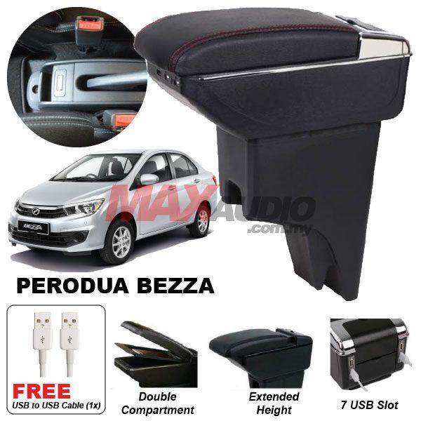 [FREE GIFT] PERODUA BEZZA Premium Quality Adjustable Black Leather With Red Stitch Arm Rest with USB Charger Extension & Cup Holder