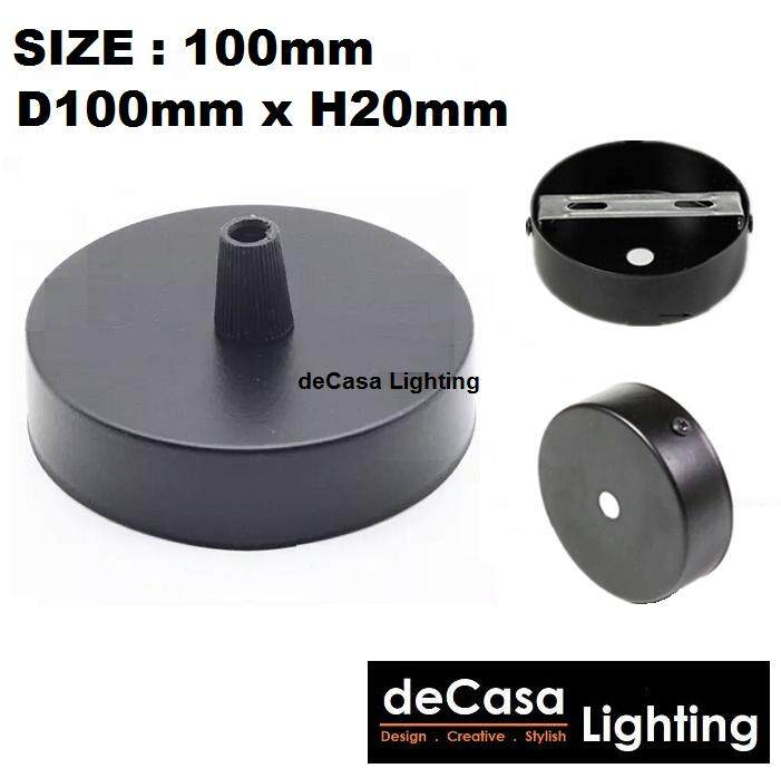 1 Pendant Fixture Ceiling Light Black Colour Decasa Lighting (100mm Single Base) (A-SB-100-BK)