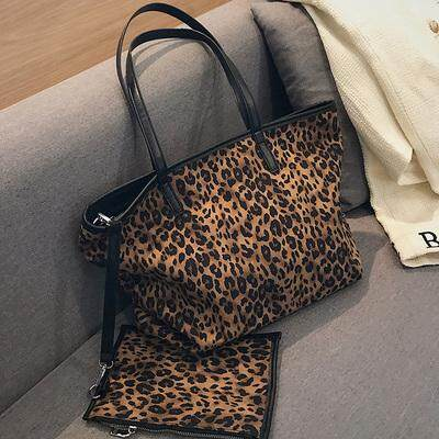 Women New Fashion Large Street Style Velvet Leopard Print Tote Bag