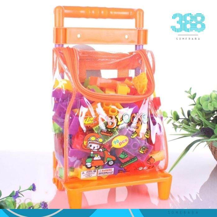 【READY STOCK】LEGO 96 Pcs Plastic Building Blocks with Cart Kids Educational Toy Multicolored
