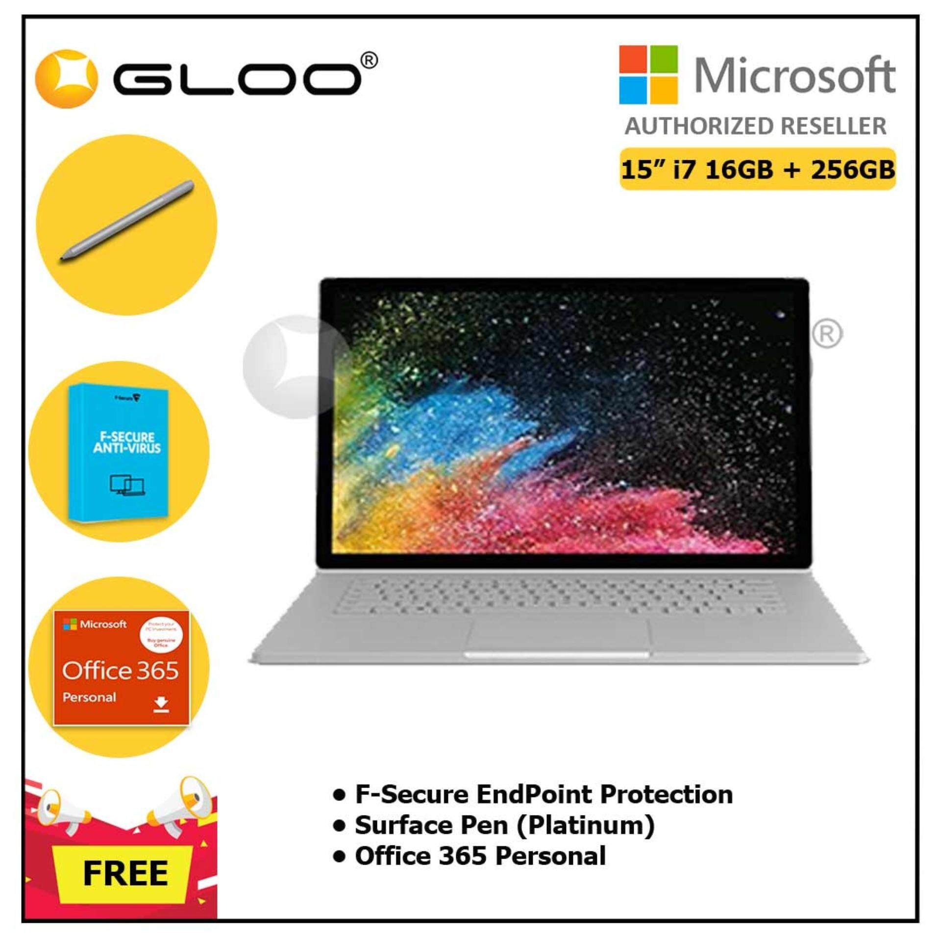 """Surface Book 2 15"""" i7/16GB 256GB + F-Secure EndPoint Protection + Office 365 Personal ESD + Pen Platinum"""