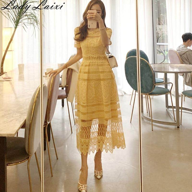 Korean Yellow Dress Women Short Sleeve