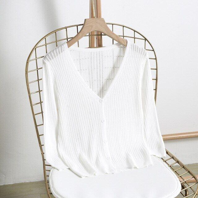 Áo Cardigan Mỏng Bằng Lụa Mát Áo Len Nữ Dài Tay Cổ Chữ V Dệt Kim Mùa Hè 2021 Áo Len Dệt Kim, Áo Cardigan Nữ Nữ Đen Hồng