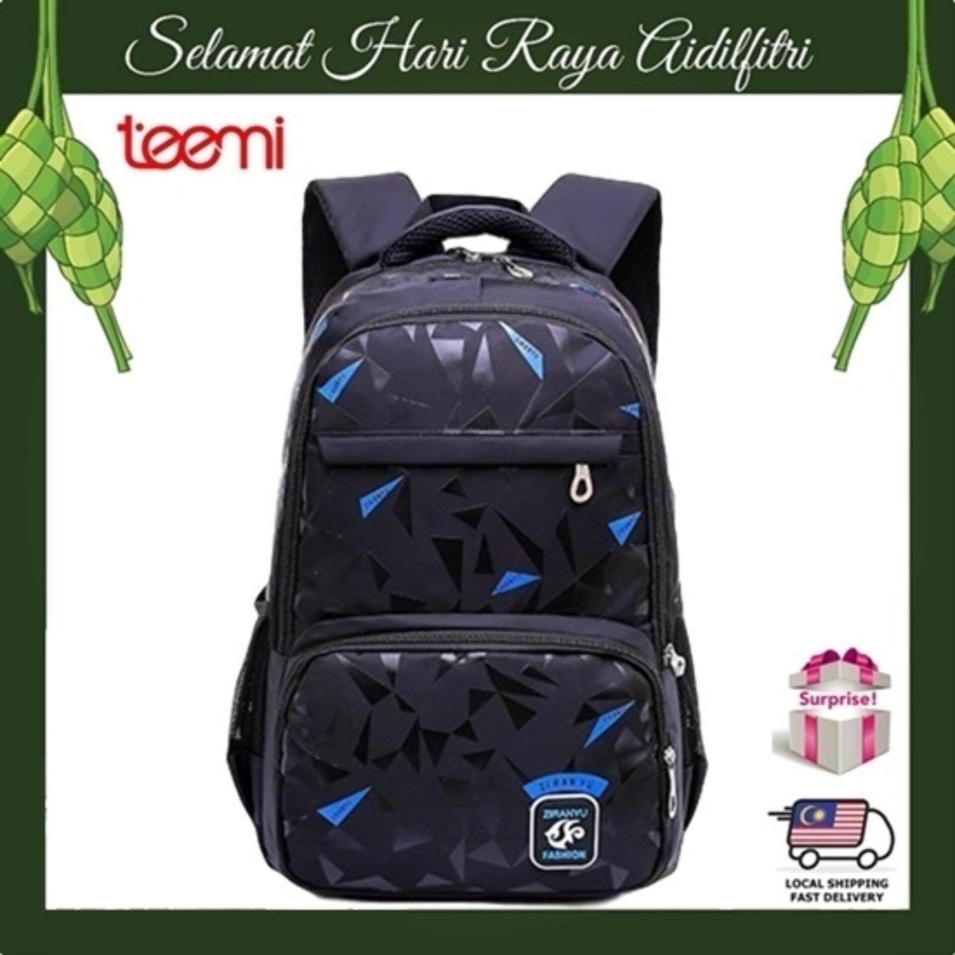 TEEMI Geometric Snow Flakes Highlight Printing Unisex Nylon Backpack Leisure Casual Teen College School Travel Laptop Bag - Black