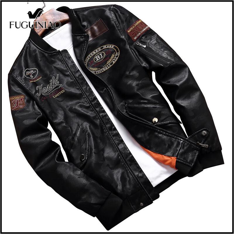 Fuguiniaoเสื้อแจ็คเก็ตหนังปักลายสำหรับผู้ชาย,เสื้อโค้ทเสื้อแจ็คเก็ตหนังเทียมเสื้อซิปหน้าทรงสลิมฟิตใส่สบายเสื้อโค้ทสำหรับใส่ไปวิทยาลัยเสื้อโค้ทเสื้อสำหรับใส่ทับด้านนอกทำจากหนังPu