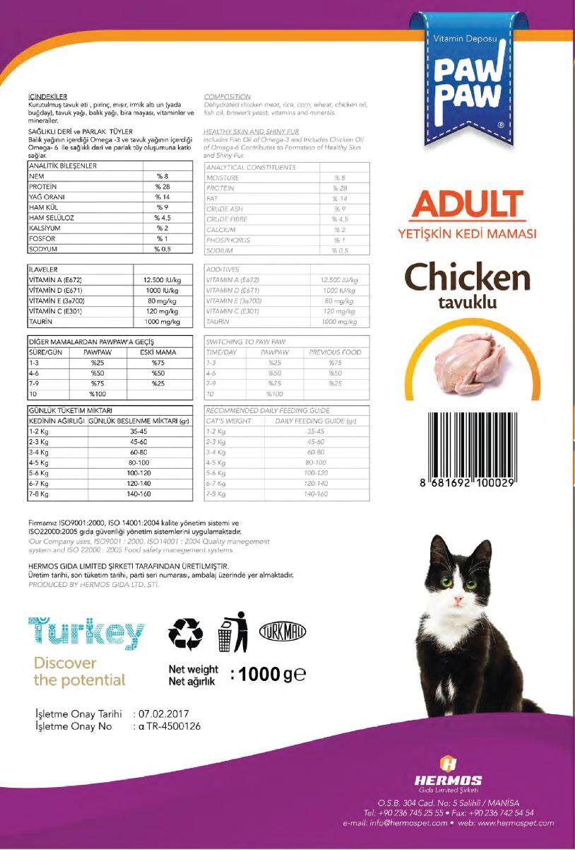 (FREE SHIPPING) TURKEY PAW PAW HIGH QUALITY ADULT CHICKEN CAT FOOD 1KG (BUY 1 FREE 1)