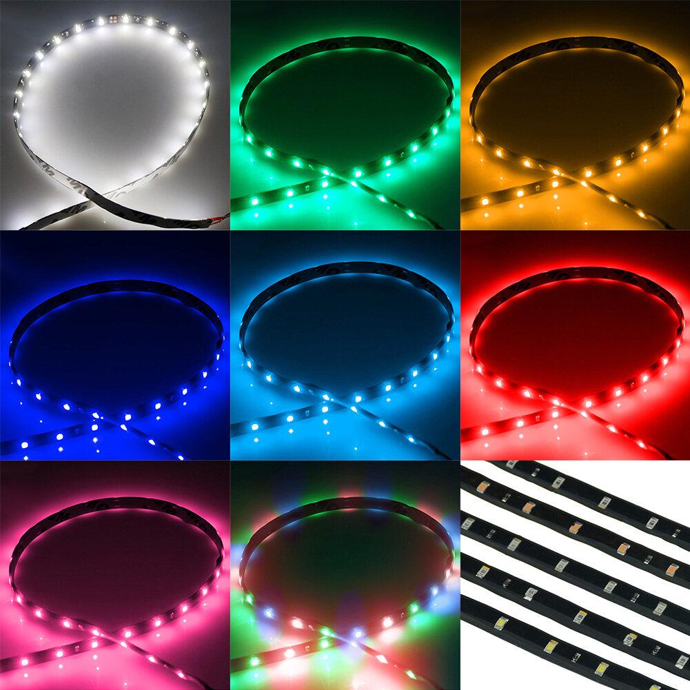 30 เซนติเมตร 15 LED 8 สีกันน้ำที่มีความยืดหยุ่นแถบแสงรถยนต์มอเตอร์บาร์S Tringกลางวันวิ่งเทป