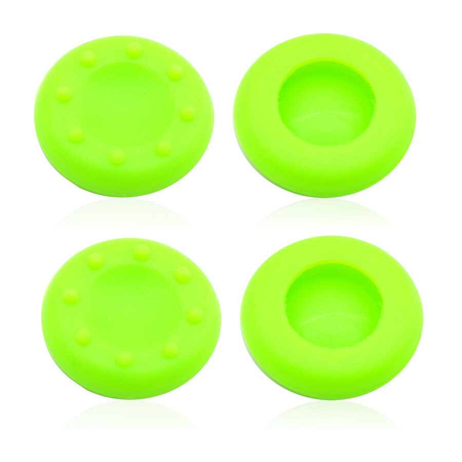 4Pcs Silicone Analog Grips Thumb stick handle caps Cover For Sony Playstation 4 PS4 PS3 Xbox Controllers (Green)