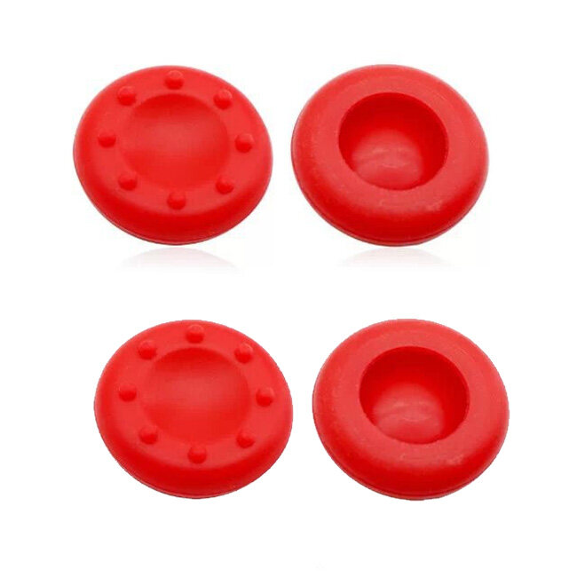 4Pcs Silicone Analog Grips Thumb stick handle caps Cover For Sony Playstation 4 PS4 PS3 Xbox Controllers (Red)