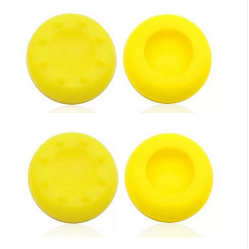 4Pcs Silicone Analog Grips Thumb stick handle caps Cover For Sony Playstation 4 PS4 PS3 Xbox Controllers (Yellow)