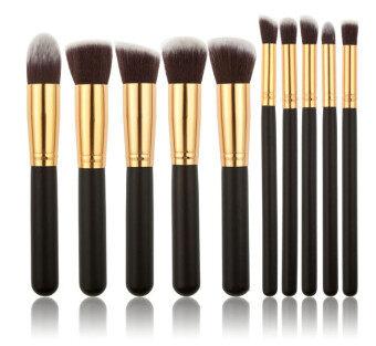 10pcs Makeup Brush Set Face Powder Brush (black+gold)