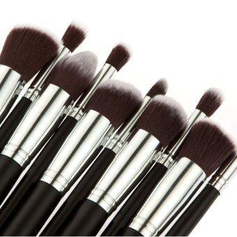 10pcs Makeup Brush Set Face Powder Brush (black+Silver) - 3