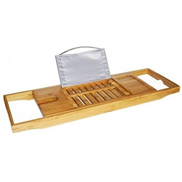 DozyAnt Bamboo Bathtub Caddy Tray with Adjustable Sides Expand to 42 ...