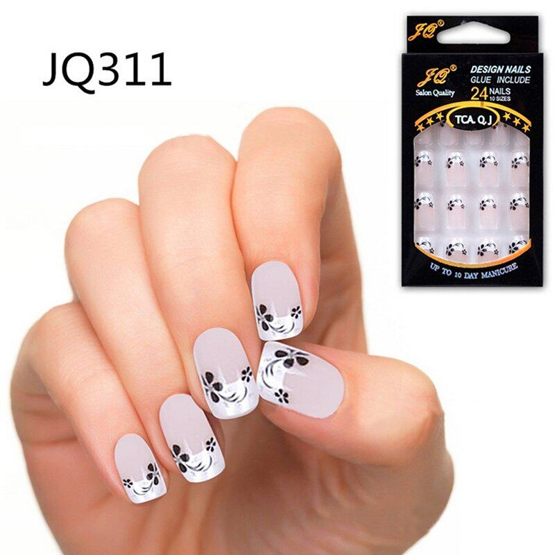 Pinellia flowers 24 Pcs False Nails French Fake Nails untuk Nail Art Design Nail Tips JQ311-Intl