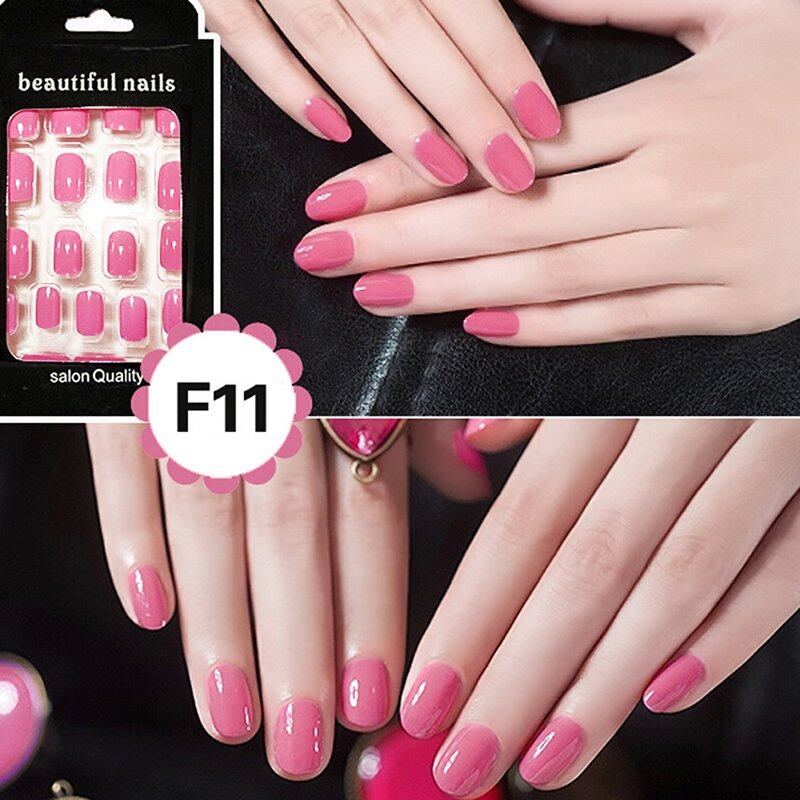 Pinellia flowers 24 Pcs Perancis Akrilik Kuku Palsu Art Fingernail Full Tips Pink-Intl
