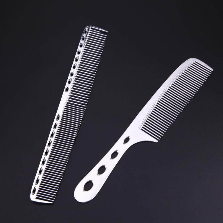 ... 2 Pcs Baja Anti Karat Salon Rambut Penataan Gaya Rambut Antistatik Tukang  Cukur Sisir (Perak 6a97f2d012