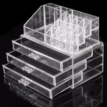 3 Layer Clear Acrylic Cosmetic Organizer Makeup Storage