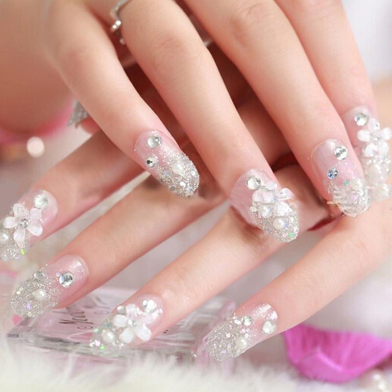 ... 3D Bride Wedding Palsu Kuku Palsu Buatan Tips Perancis Putih Stud Jari- Intl - 4 ...