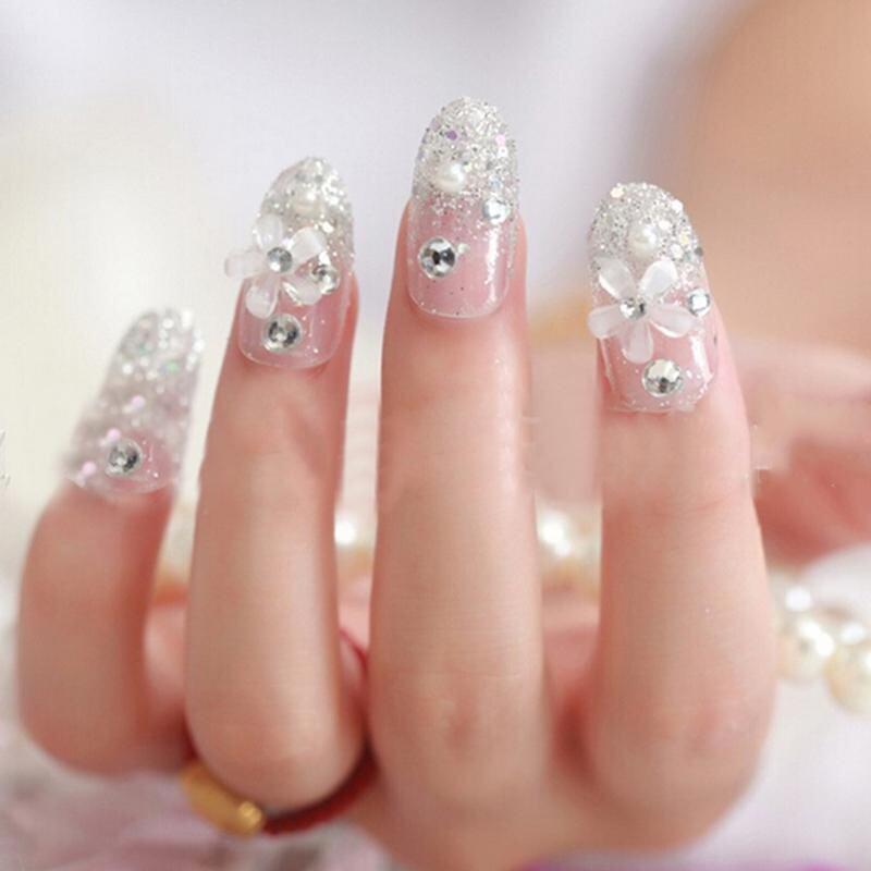 ... 3D Bride Wedding Palsu Kuku Palsu Buatan Tips Perancis Putih Stud Jari- Intl - 5
