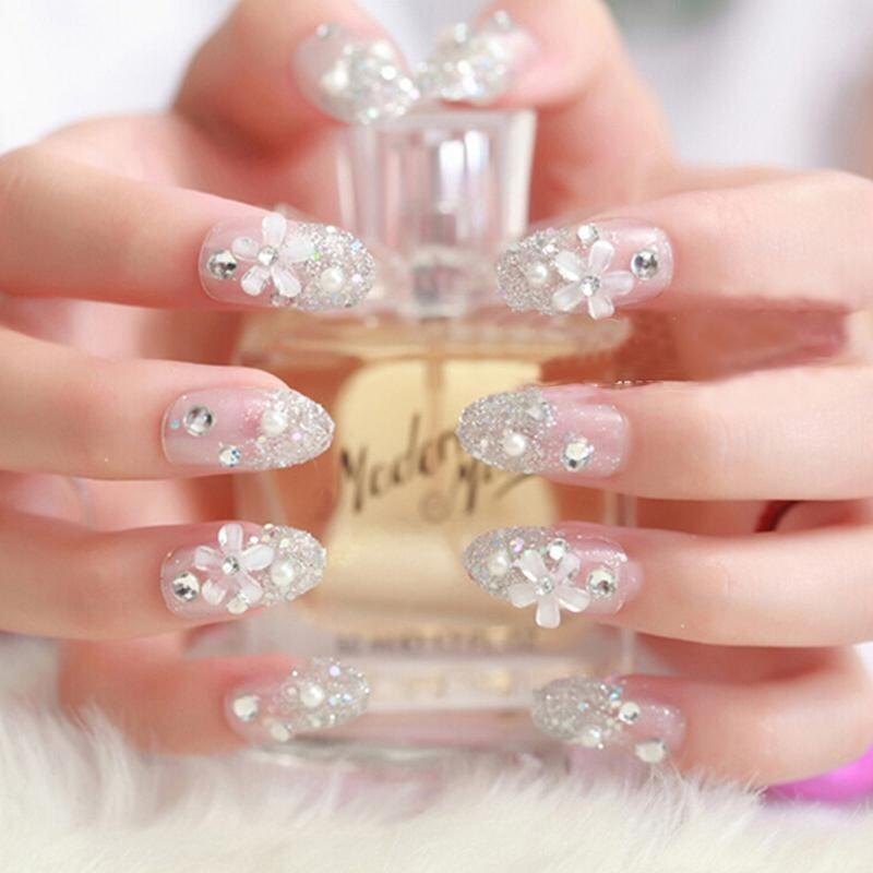 3D Bride Wedding Palsu Kuku Palsu Buatan Tips Perancis Putih Stud Jari-Intl - 2 ...