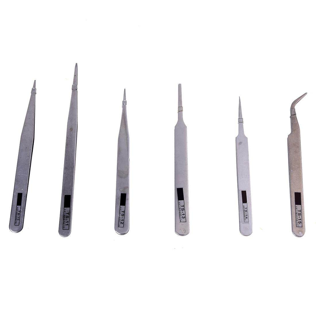 6x Brucelles Tweezers pliers Antistatic Tweezers TS-10/11/12/13/14/15 For PCBs - intl