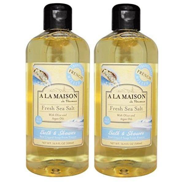 A La Maison de Provence Fresh Sea Salt Liquid Bath and Shower Soap (Pack of 2) With Olive Oil, Argan Oil and Vitamin E, 16.9 fl oz Each - intl