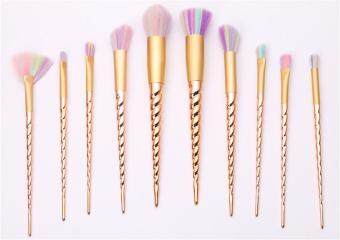 Harga Ai Home 10pcs Unicorn Thread Makeup Cosmetic Brushes Set (Gold)