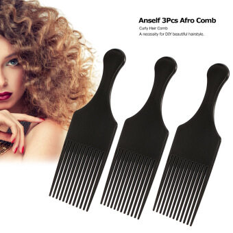 Anself 3Pcs Afro Comb Curly Hair Brush Comb Hairdressing StylingTool Black for Man & Woman