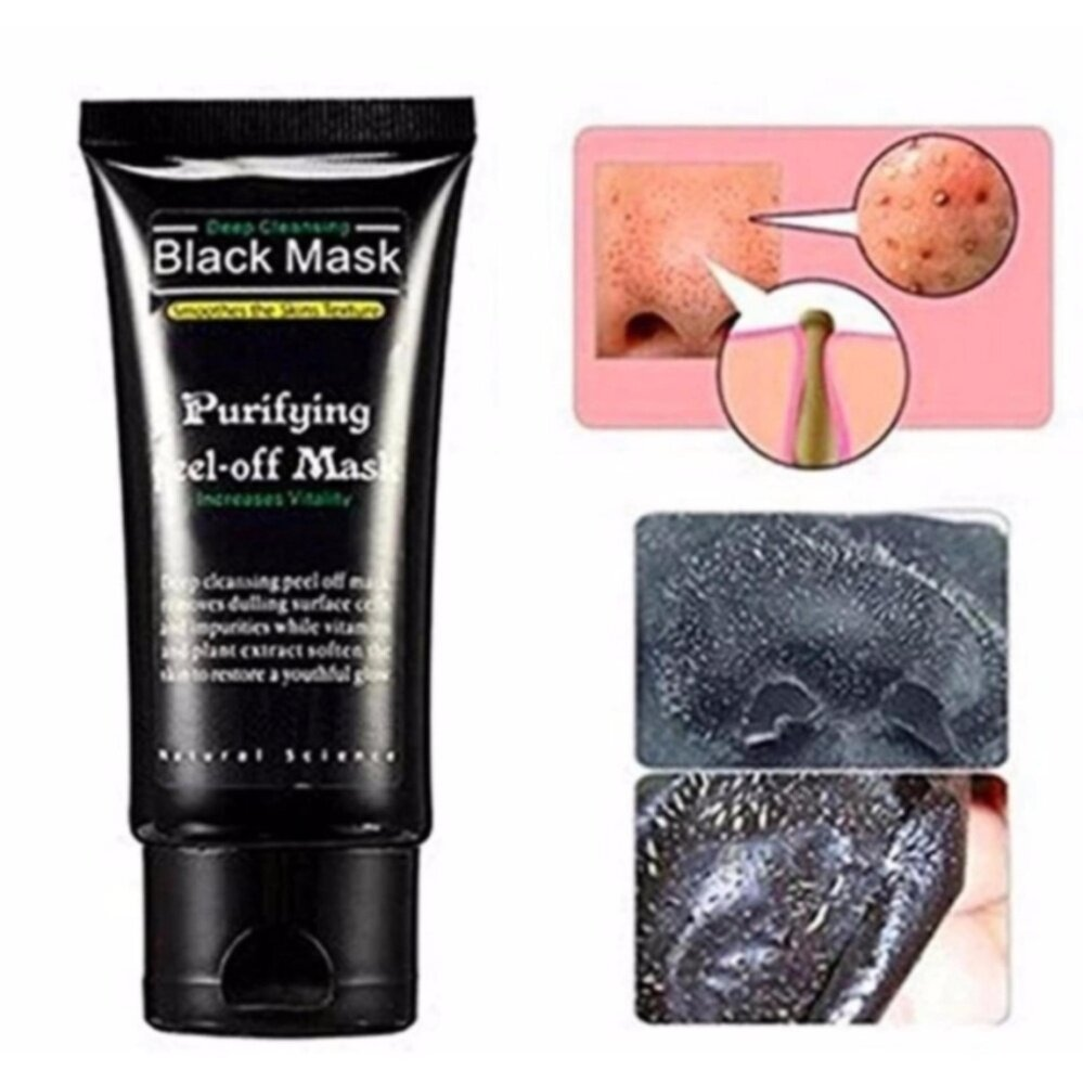 Blackhead Remover Cleaner Purifying Deep Cleansing Acne Black Mud Face Mask Peel-off(50ml,Black)