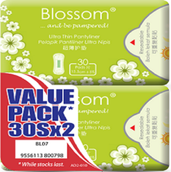 Harga Blossom Ultra Thin Pantyliner 15.5cm 2 x 30 Pads
