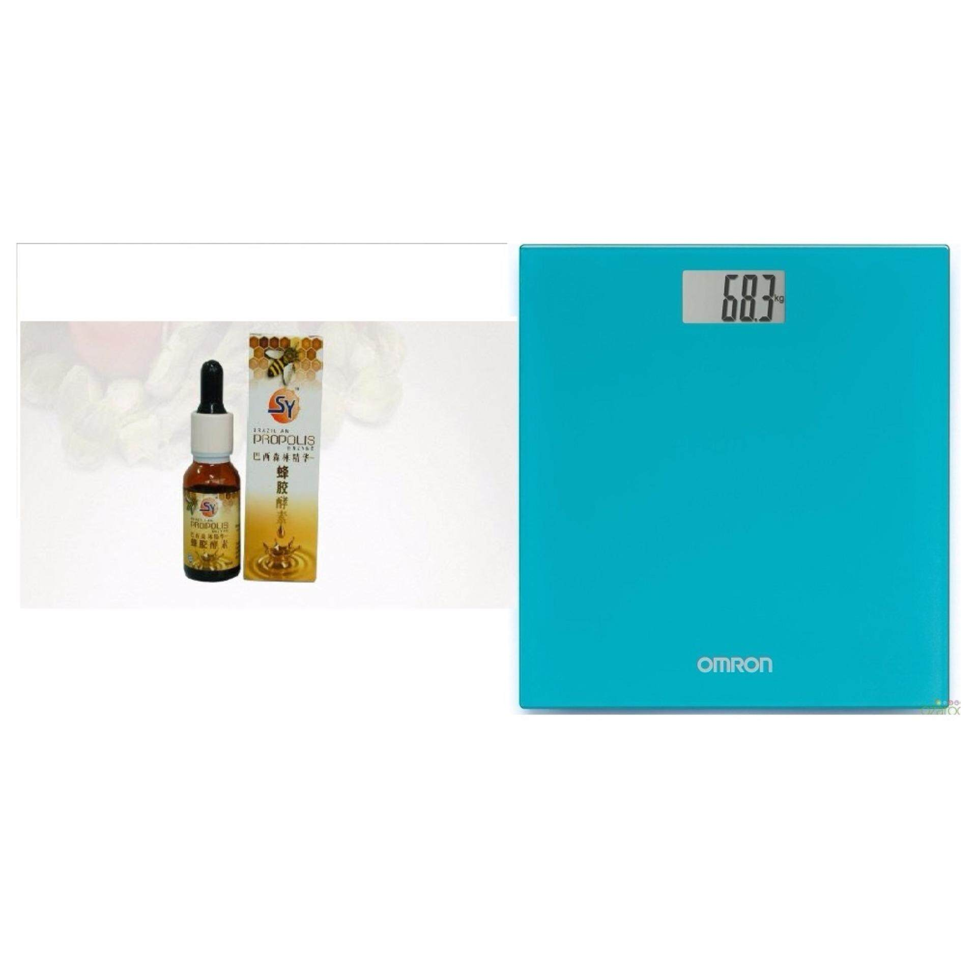 BRAZILIAN PROPOLIS ENZYME ORALLY 蜂胶酵素 15ml + Omron Digital Body Weighing Weight Scale HN289 Blue