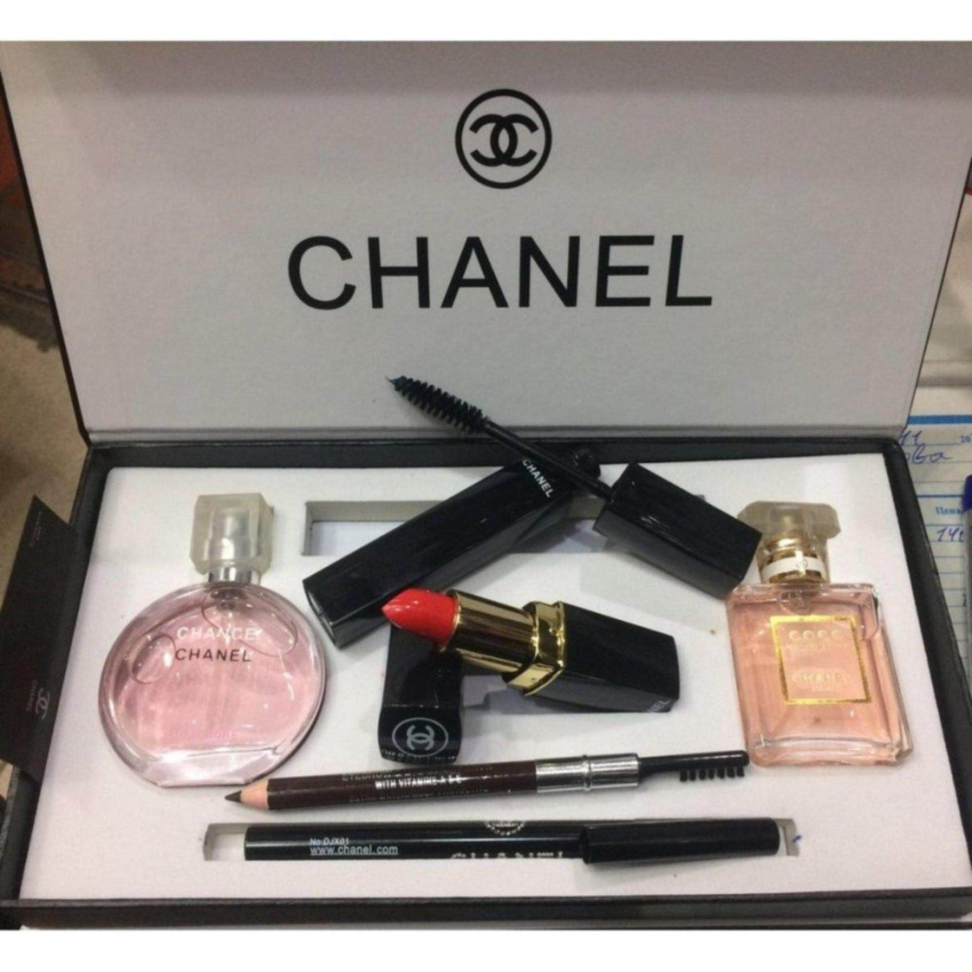 Chanel 5 in 1 Limited Edition Gift set- Chance Chanel 15ml Perfume , Coco Madmosile 15ml Perfume , Mascara , Eyeliner Pencil Lipstick