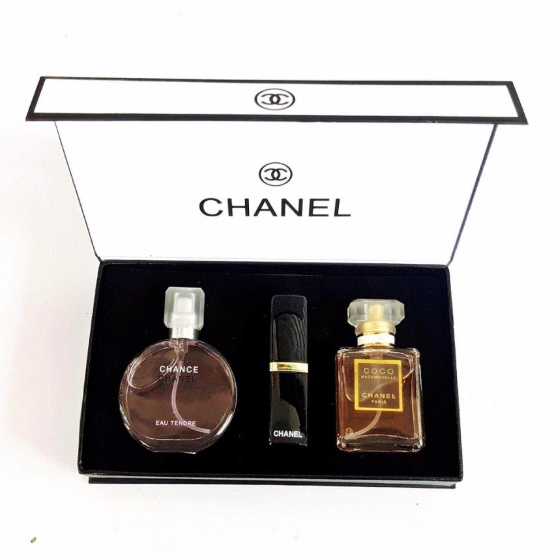 Chanel Gift Set 3 In 1 with Chance Chanel 15ml Perfume,Coco Madmosile 15ml Perfume And Lipstick