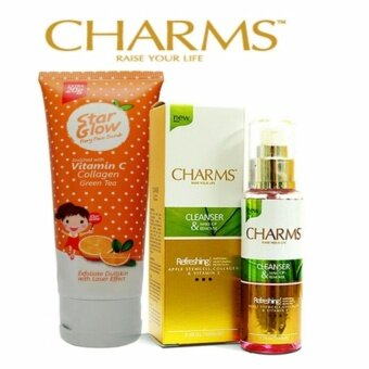 Harga Charms Star Glow Scrub Laser + Charms Cleanser & Make-Up Remover Combo Set
