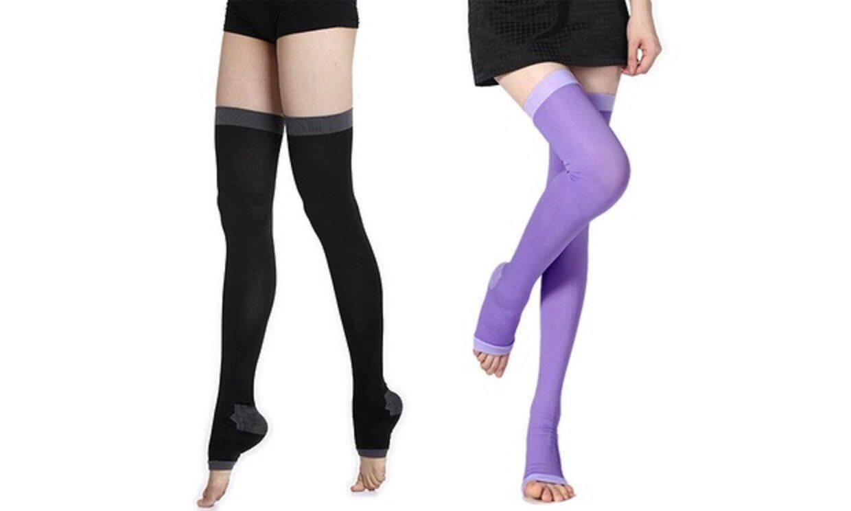 CLEARANCE Womens Slim Sleeping Beauty Leg Shaper Compression Burn Fat Socks - Purple- FREE SHIPPING