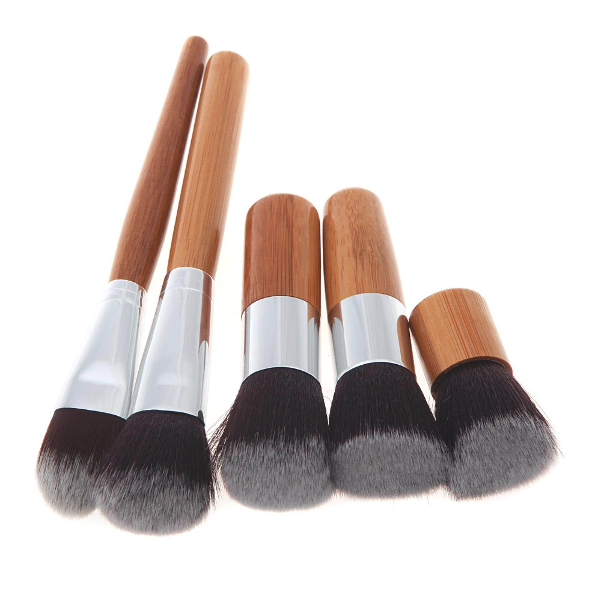 (HALAL BRUSH & FREE BAG) WJS HALAL Cosmetic New 12 Piece makeup make up Brush Set Bamboo Handle Premium Synthetic Kabuki Foundation Blending Blush Concealer Eye Face Liquid Powder Cream Cosmetics Brushes Kit With Bag