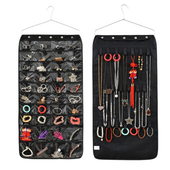 Harga Double Sided Hanging Jewellery Storage 40 Pockets Over Door WallWardrobe Closet Tidy Earrings Necklace Bracelet Jewelry DisplayOrganizer Rack Space-saving Travel Household Holder Storage BagBlack