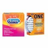 Durex Pleasuremax Ribbed Condoms + One Super Studs Dotted Condoms