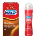 Durex Real Feel Condoms 10s + Durex Play Strawberry Lube